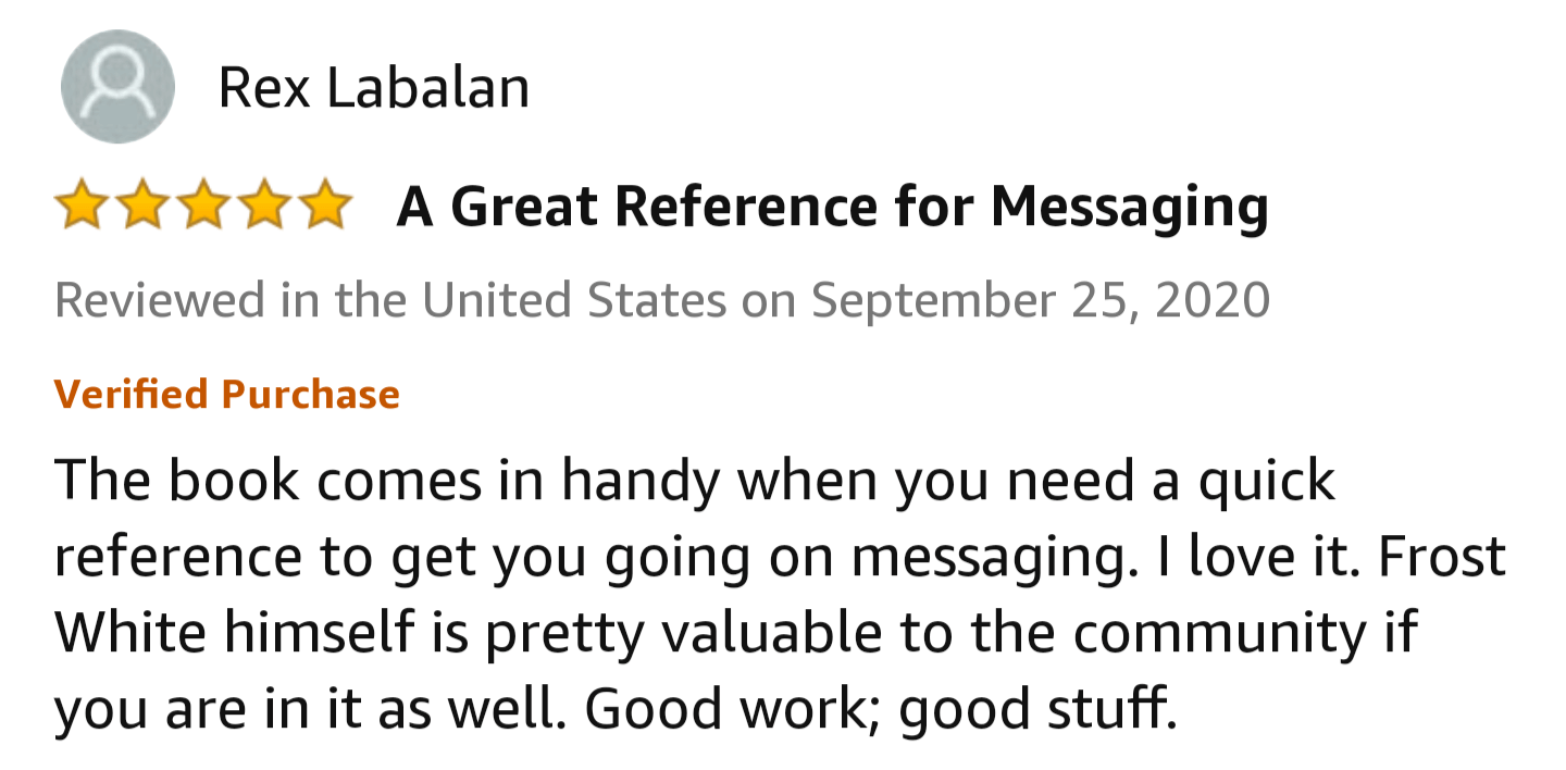 Amazon Review of The Message Game, 5 stars Bumble Tinder Best Book For Online Dating RSD Real Social Dynamics Testimonial, Ice White